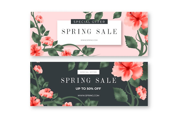 Realistic spring sale banner collection