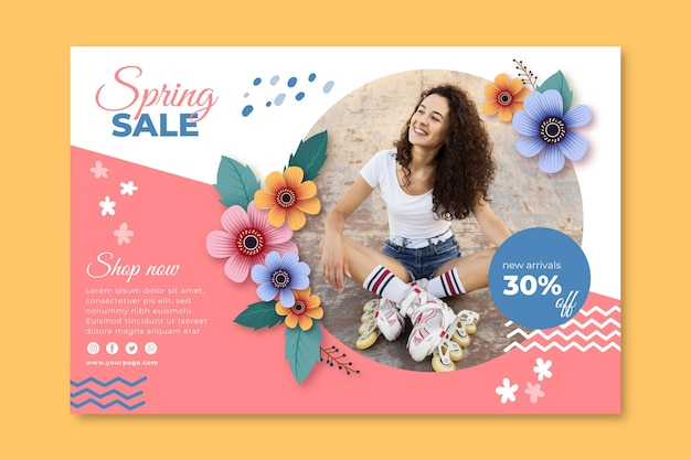 Realistic spring sale banner template