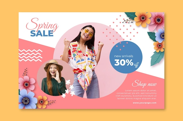 Realistic spring sale banner