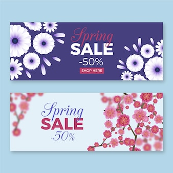 Realistic spring sale banners pack