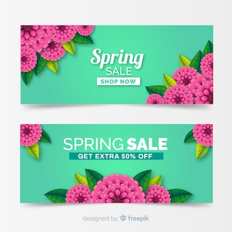 Realistic spring sale banners