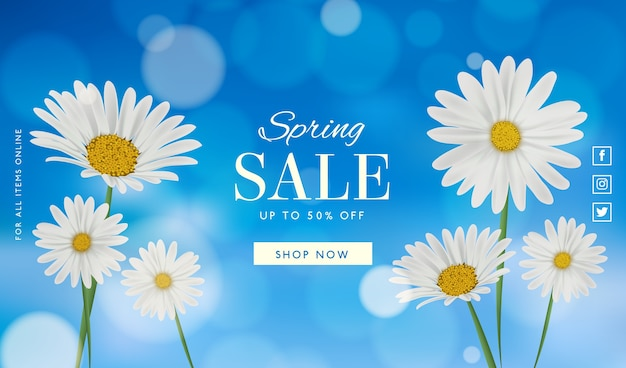 Realistic spring sale concept