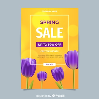 Realistic spring sale flyer template