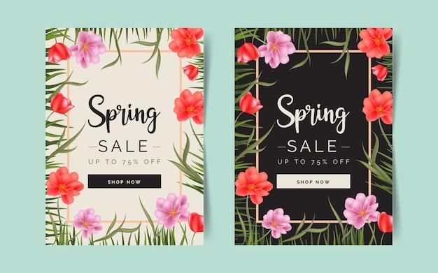 Modello di volantino vendita primavera realistica