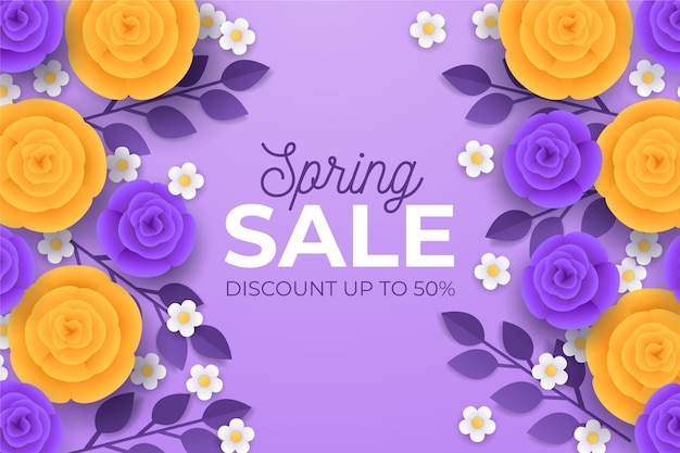 Realistic spring sale illustration in paper style