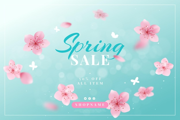 Realistic spring sale illustration