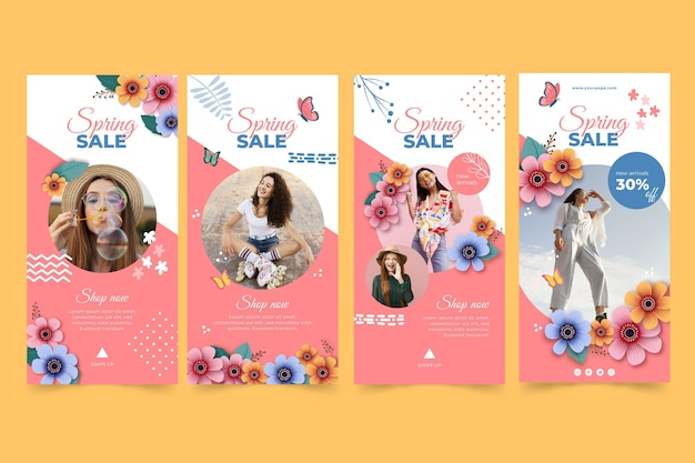 Realistic spring sale instagram stories