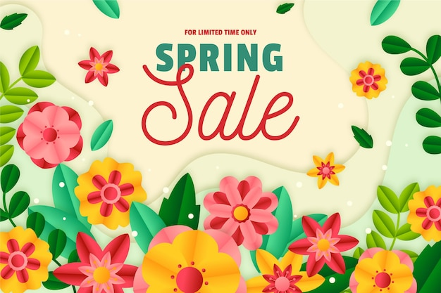 Realistic spring sale in paper style background