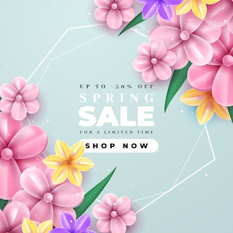 Realistic spring sale with blooming pink flowers