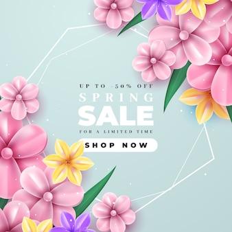 Realistica vendita primaverile con fioritura fiori rosa