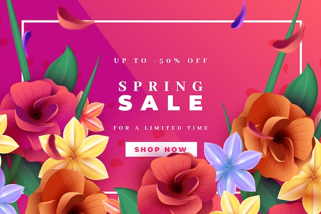 Realistic spring sale with flowers and leaves