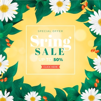 Realistic spring sale with flowers