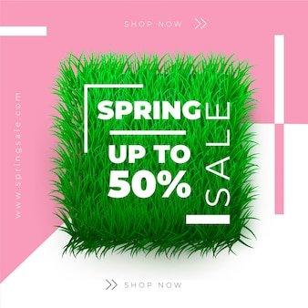 Realistic spring sale with grass patch