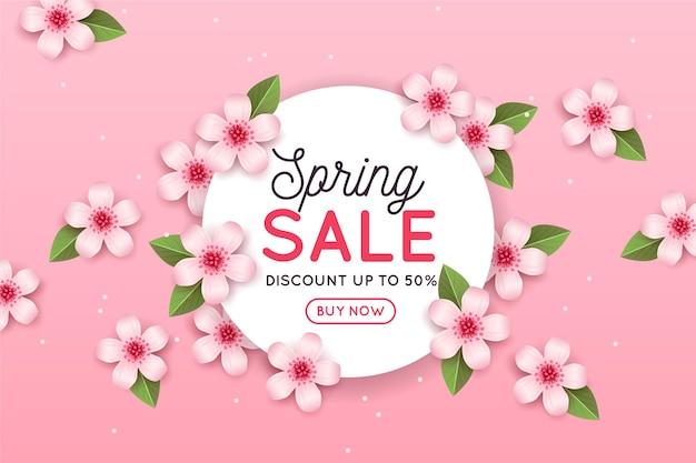Реалистичная весенняя распродажа с розовыми цветами и листьями