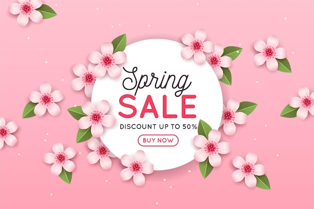 Realistic spring sale with pink flowers and leaves