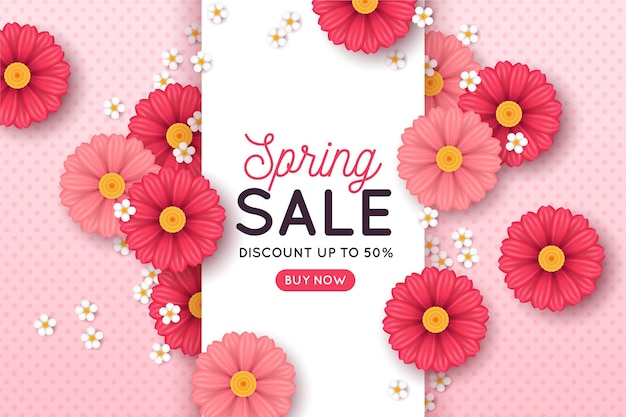Realistic spring sale with pink flowers
