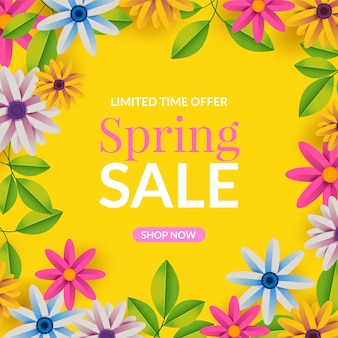 Realistic spring sale on yellow background