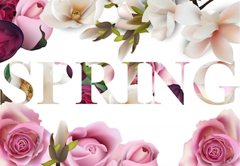 Realistic Spring text background with flowers illustration