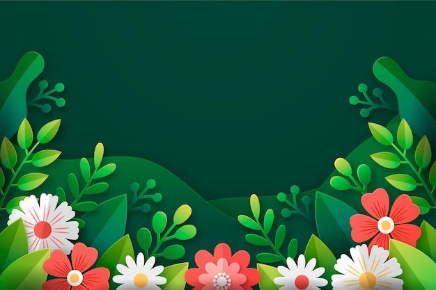 Realistic spring wallpaper in paper style