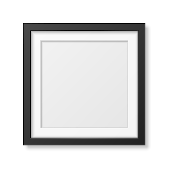 Realistic square black frame isolated on white.