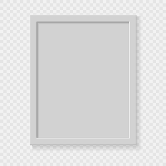 Realistic square empty picture frame on transparent background.