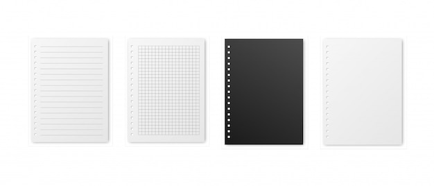Realistic square, lined and black paper blank sheets set