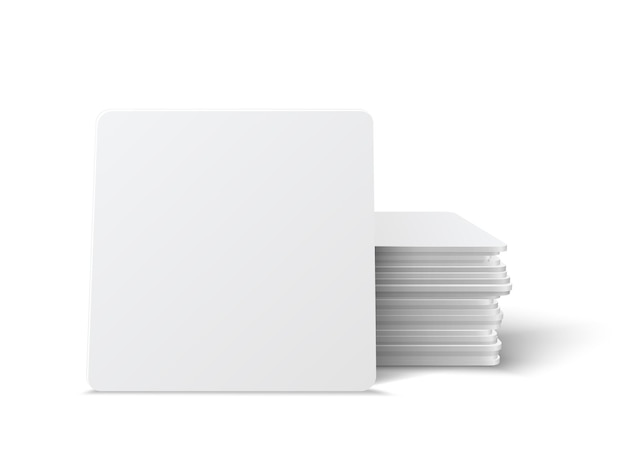 Realistic  square table coasters mockup set.  square beermat, bierdeckel isolated on white background with shadow.