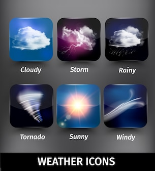 흐린 폭풍 비가 토네이도 맑은 바람이 테마에 현실적인 사각형 날씨 아이콘 설정