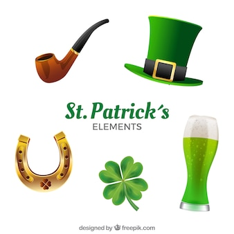 Realistic st. patrick's day element collection