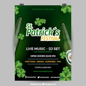 Realistic st. patrick's day flyer / poster template