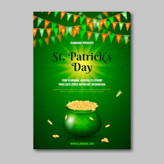 Realistic st. patrick's day flyer template
