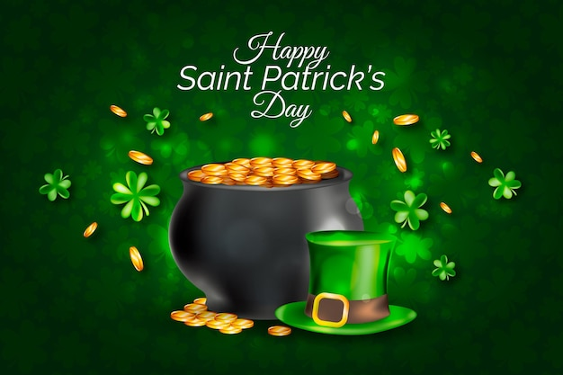 Realistic st. patrick's day illustration with cauldron and coins