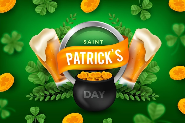 Realistic st. patrick's day illustration with cauldron and pints