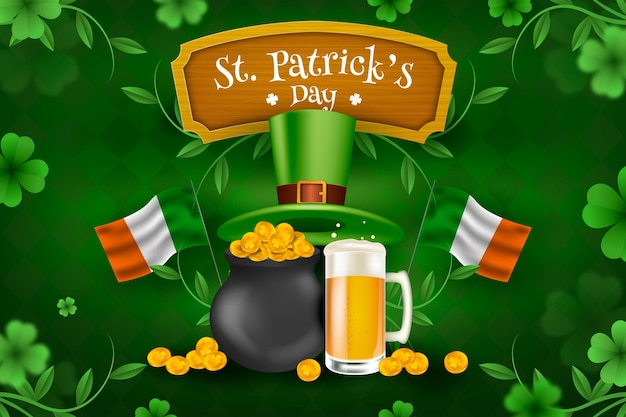 Realistic st. patrick's day illustration with flags and cauldron of coins