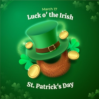 Realistic st. patrick's day illustration with hat and coins