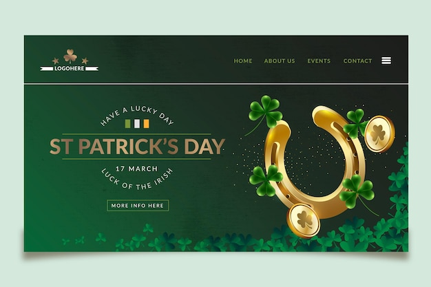 Realistic st. patrick's day landing page