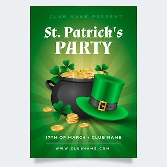 Realistic st. patrick's day poster template