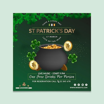 Realistic st. patrick's day square flyer template