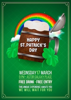 Realistic st. patrick's day vertical poster template with rainbow and beer pint