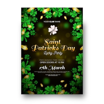 Realistic st. patrick's day vertical poster template