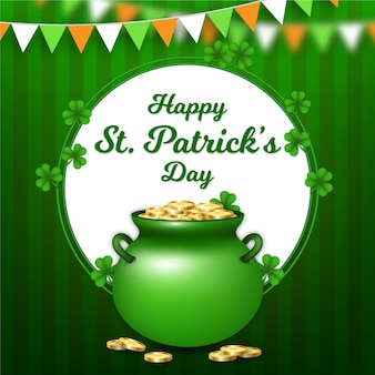 Realistic st. patrick's day with cauldron of coins