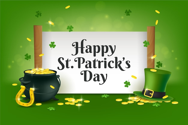 Realistic st. patrick's day with cauldron filled with gold
