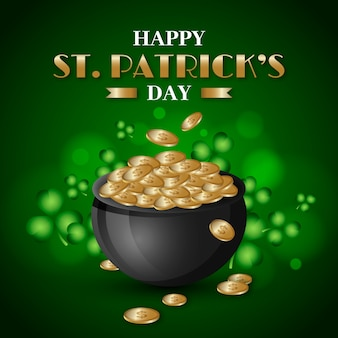 Realistic st. patrick's day with coins in cauldron