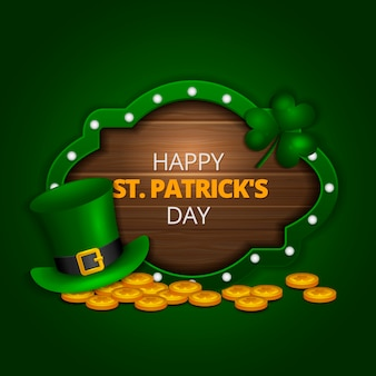 Realistic st. patrick's day with coins and clover