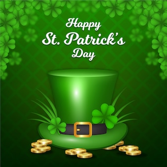 Realistic st. patrick's day with hat and coins