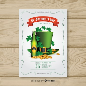 Realistic st patrick's elements party poster