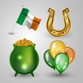 Realistic st. patricks dayelement collection theme