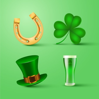 Realistic st. patricks day element collection