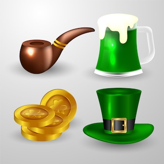 Realistic st. patricks dayelement collection