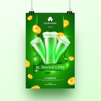 Realistic st. patricks day poster template
